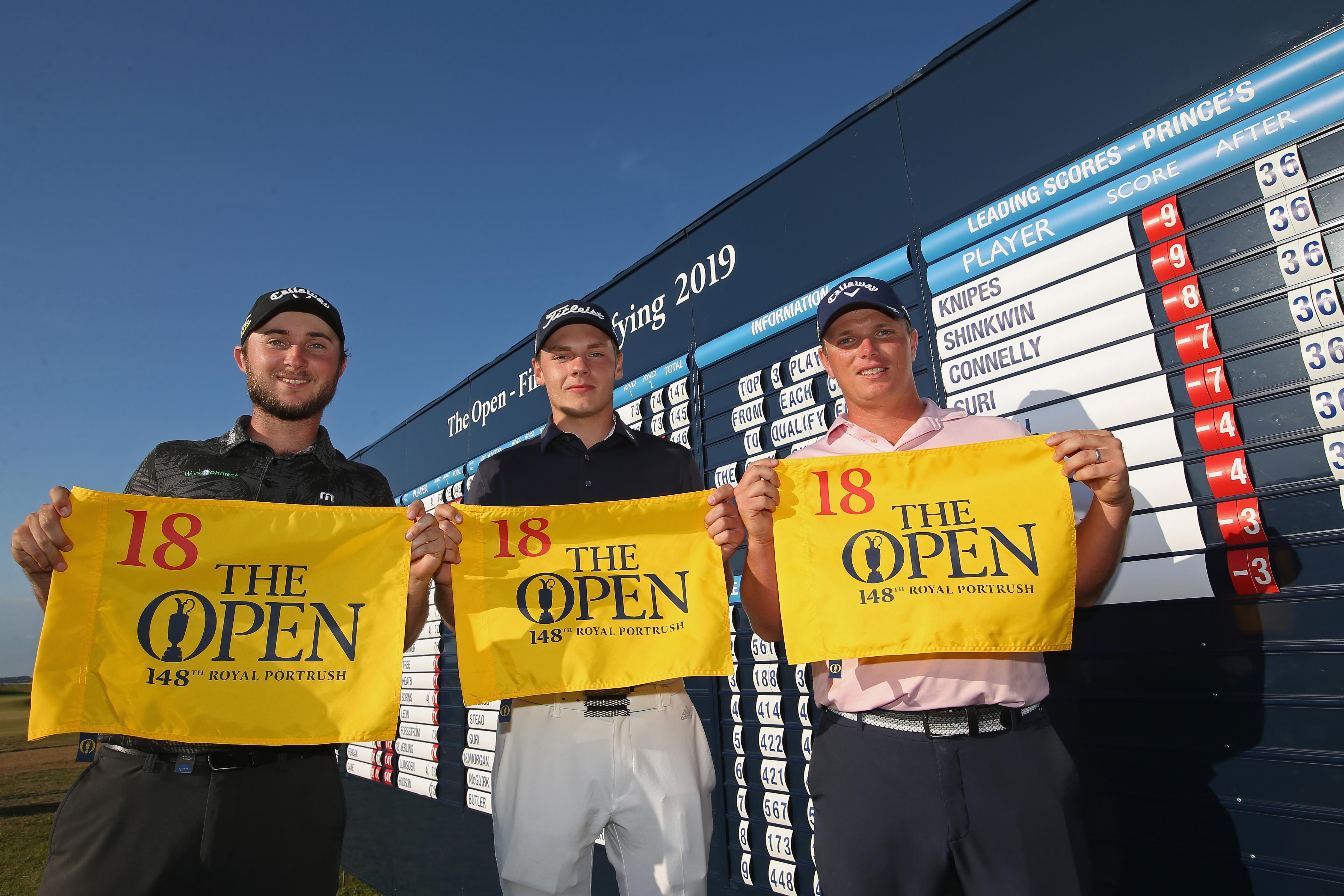 プリンスズ会場で出場権を獲得したコネリー、クナイプス、シンクウィン(左から) 写真・Getty Images